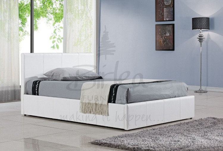 Small Double Bed White Leather Ottoman 750 x 506