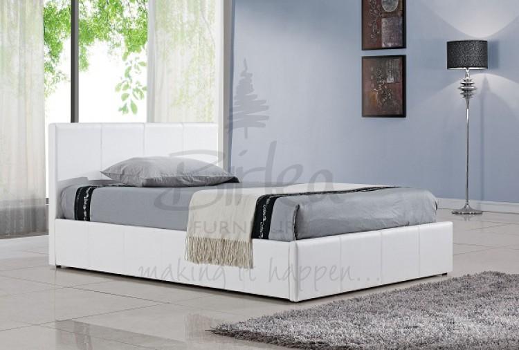 Birlea ... & Birlea Berlin Ottoman 4ft6 Double White Faux Leather Bed Frame by Birlea