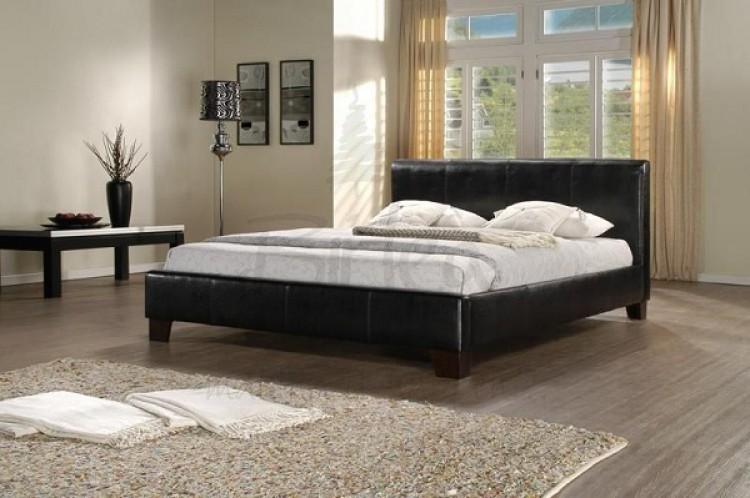 Birlea Brooklyn Black 6ft Super Kingsize Faux Leather Bed Frame by ...