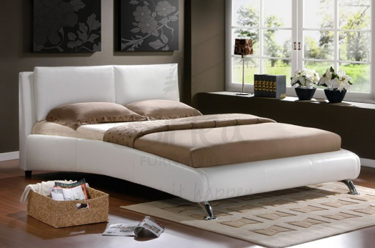 Birlea Carnaby White 5ft Kingsize Faux Leather Bed Frame