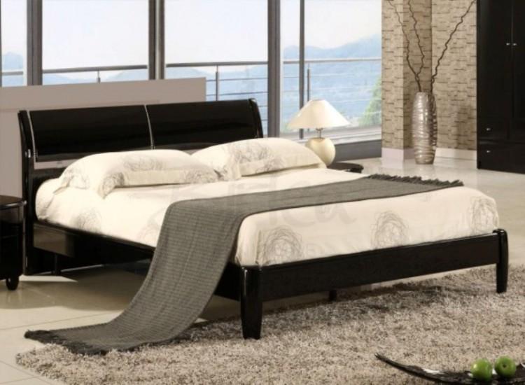 birlea aztec black 5ft kingsize high gloss bed frame - High King Size Bed Frame