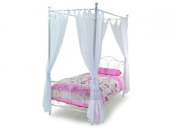 Metal Beds Ballet 3ft Single White Four Poster Metal Bed