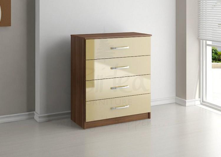 birlea lynx walnut with cream gloss 4 drawer chest of drawers by birlea. Black Bedroom Furniture Sets. Home Design Ideas
