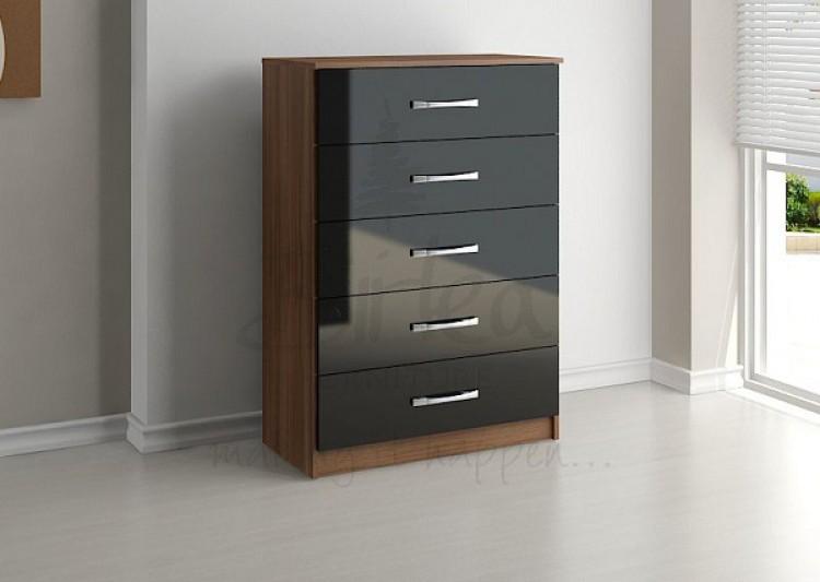 birlea lynx walnut with black gloss 5 drawer chest of drawers by birlea. Black Bedroom Furniture Sets. Home Design Ideas