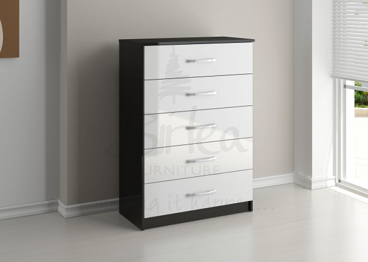 Birlea Lynx Black With White Gloss 5 Drawer Chest Of