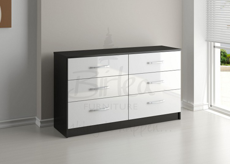 Birlea Lynx Black with White Gloss 6 Drawer Wide Chest of Drawers by ...