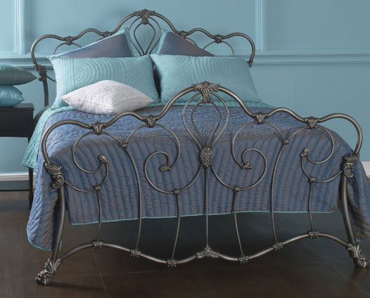 Superior OBC Athalone 5ft Kingsize Silver Patina Metal Bed Frame