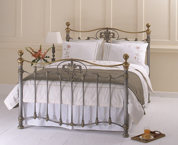 OBC Camolin 5ft Kingsize Silver Patina Metal Bed Frame by Original