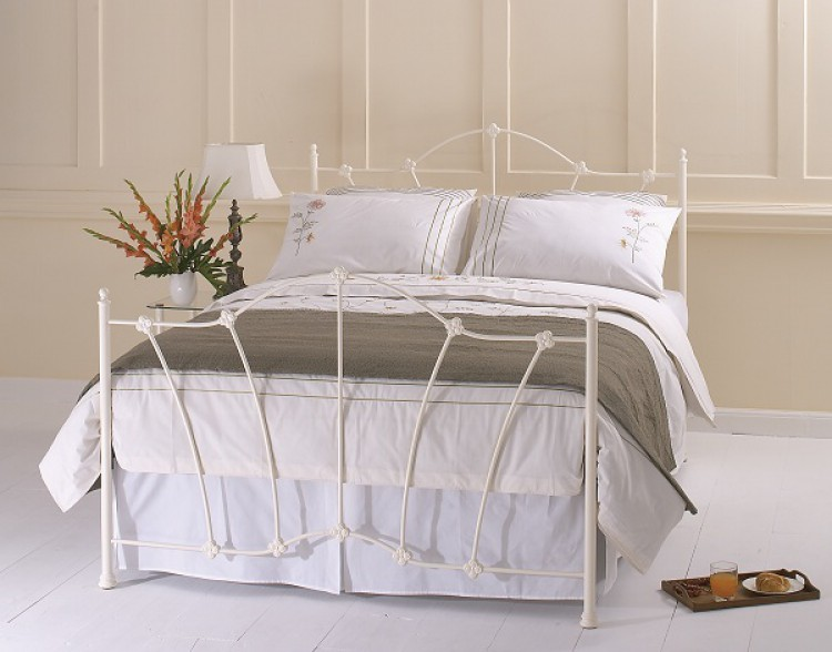 OBC Thorpe Glossy 4ft 6 Double Ivory Metal Bed Frame by Original ...