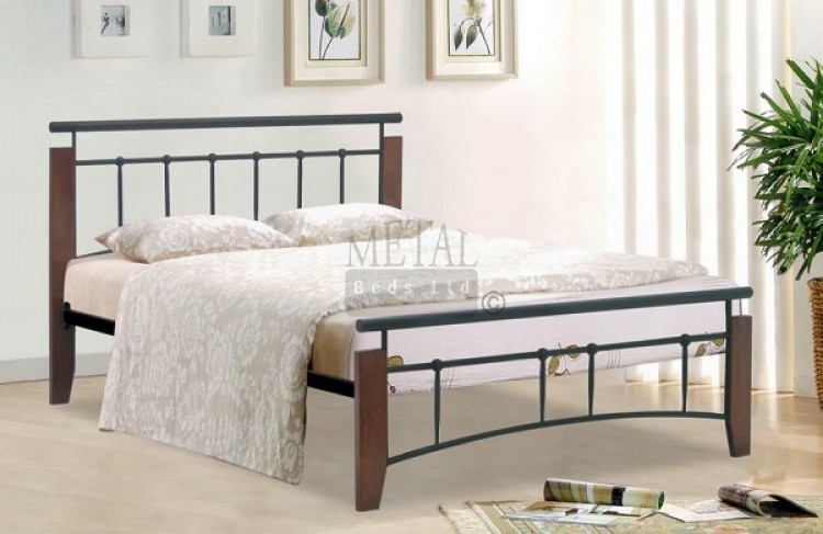 Metal Beds Kentucky 4ft (120cm) Small Double Black and Antique Oak ...