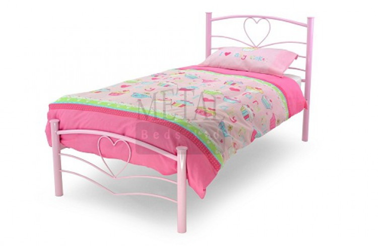 Metal Beds Love 3ft 90cm Single Pink Bed Frame By Metal