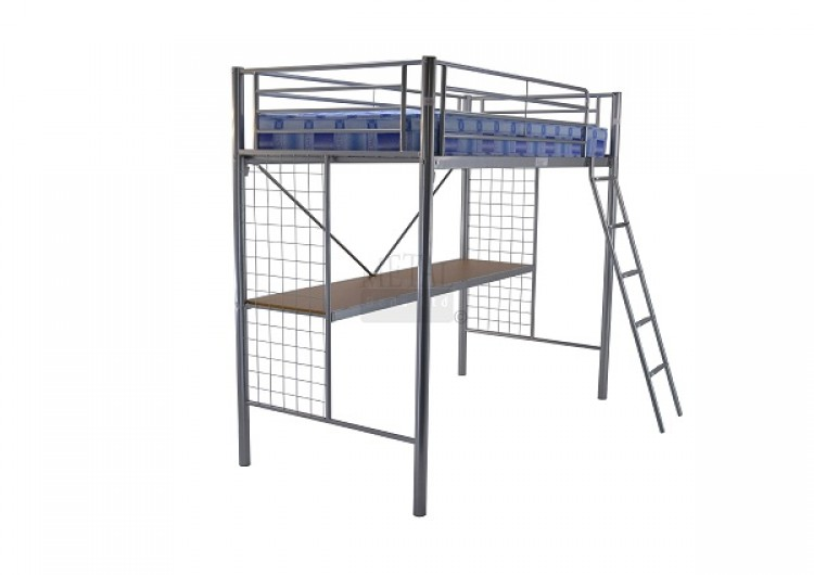 Metal Beds Student Bunk 3ft 90cm Single Silver Metal High