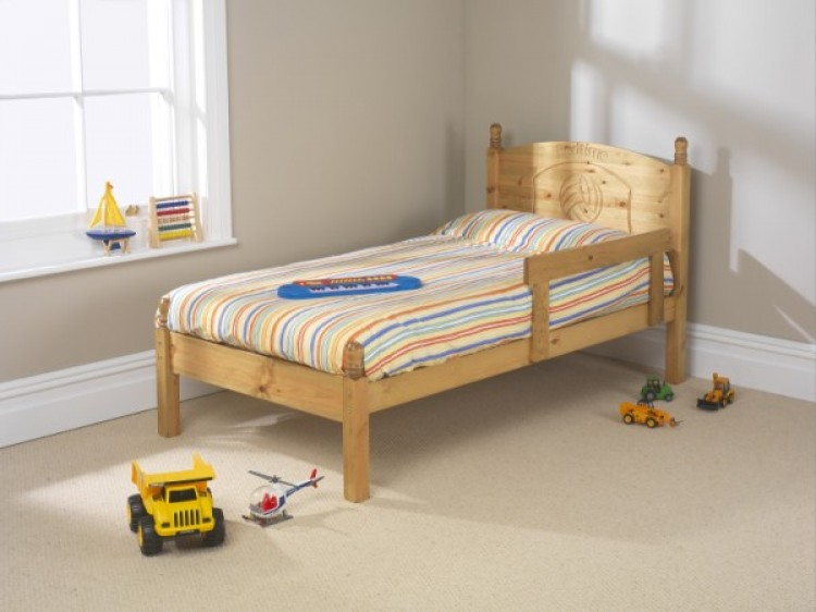 Friendship mill football 2ft6 small single pine wooden bed for Compact beds