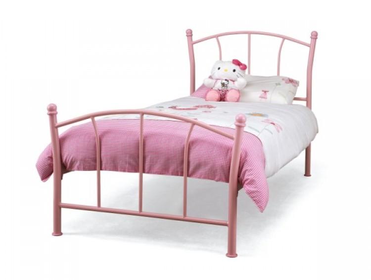 Serene Penny 3ft Single Pink Metal Bed Frame by Serene Furnishings