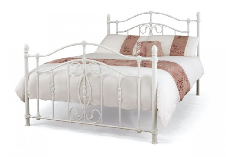 Serene Nice 4ft6 Double White Metal Bed Frame by Serene Furnishings