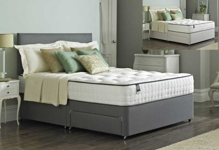 Pocket divan bed 1000 memory foam pocket sprung firm for Memory foam double divan bed sale