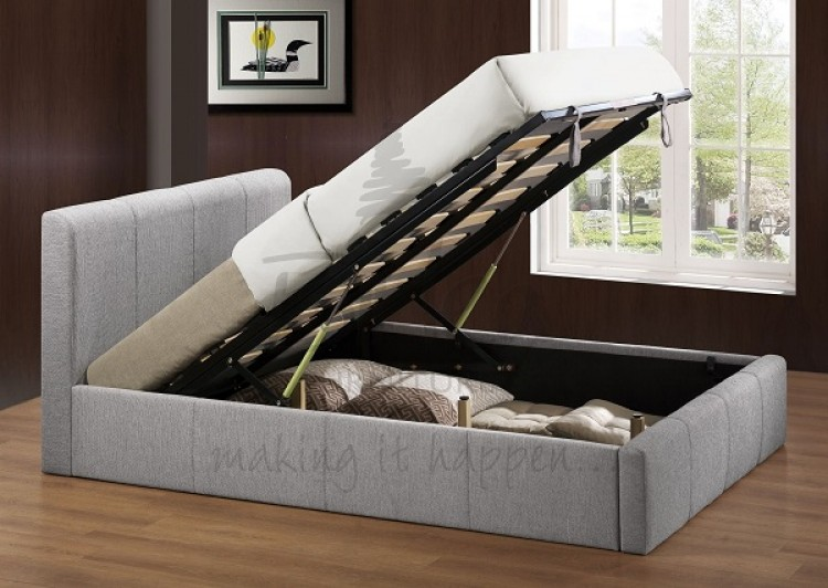 Birlea Brooklyn Grey Fabric 5ft Kingsize Ottoman Bed Frame