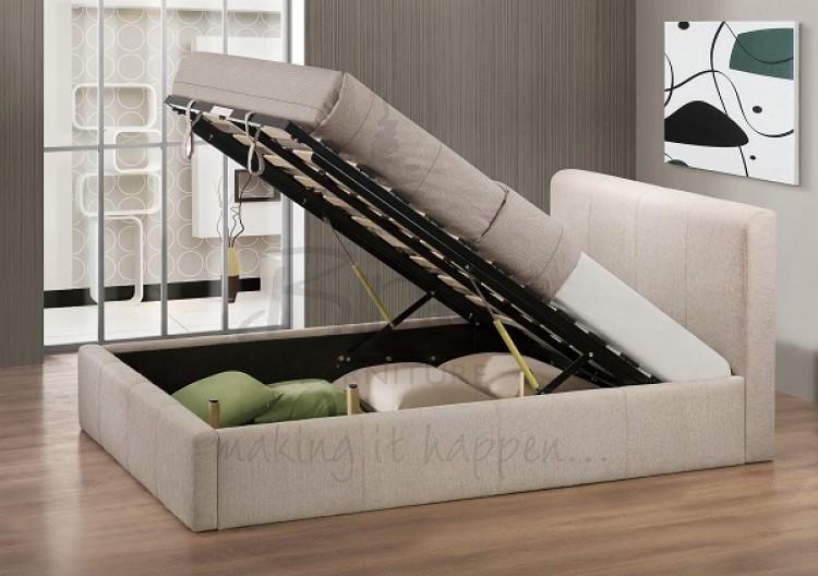Birlea Brooklyn Wheat Fabric 4ft6 Double Ottoman Bed Frame