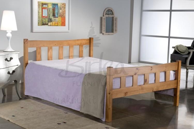 Birlea Miami Pine wooden bed 4ft (120cm) small double Antique finish  750 x 500