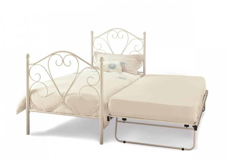 Serene Isabelle 3ft Single White Gloss Metal Guest Bed Frame by ...