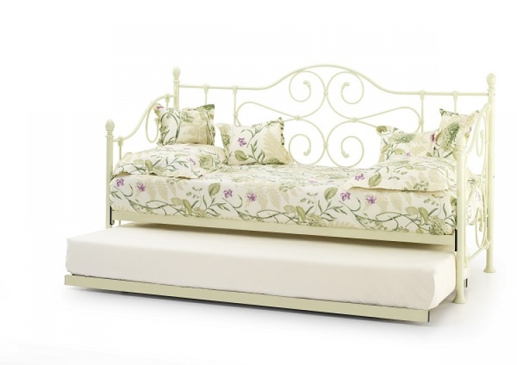 Serene Florence 3ft Single Ivory Metal Day Bed Frame With