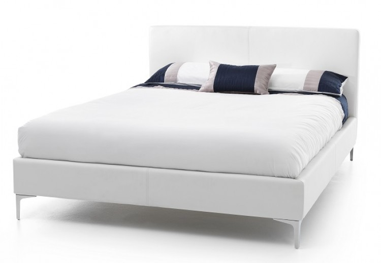 Serene Monza 4ft Small Double White Faux Leather Bed Frame