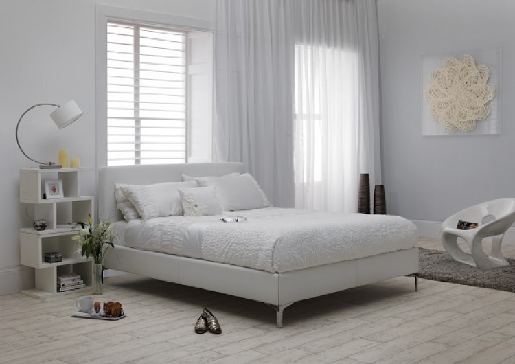 Serene Monza 4ft Small Double White Faux Leather Bed Frame By Serene Furnishings