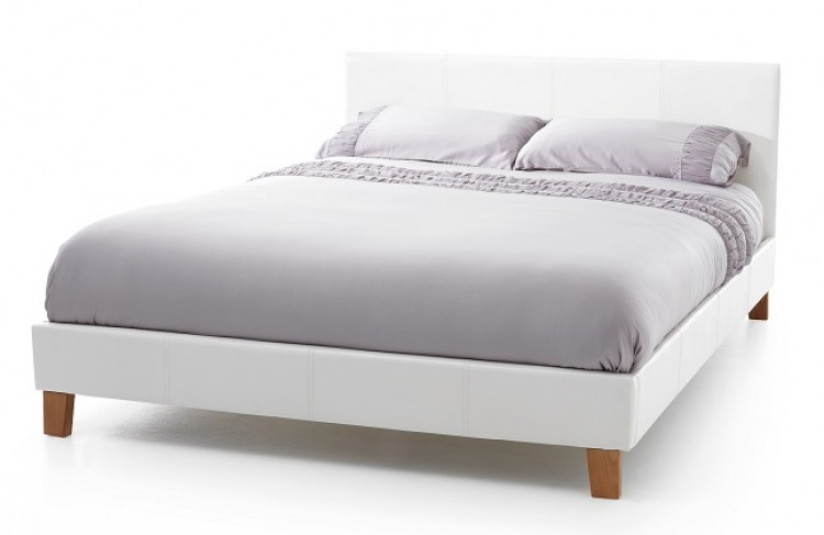 Serene Tivoli 4ft Small Double White Faux Leather Bed Frame by
