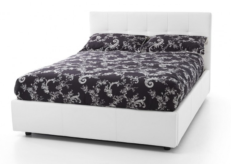 Serene lucca 4ft small double white faux leather ottoman for Double divan bed frame