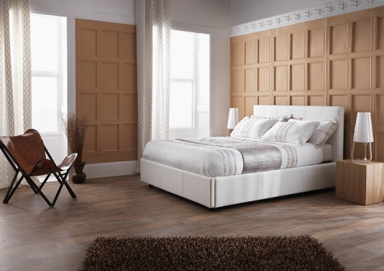 ... Bed Frame Serene ... & Serene Lucca 4ft Small Double White Faux Leather Ottoman Bed Frame ...