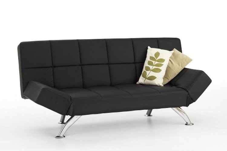 Serene venice black faux leather sofa bed by serene for Black divan bed with mattress