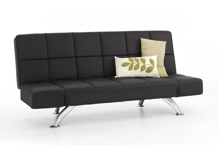 Serene Venice Black Faux Leather Sofa Bed By Serene