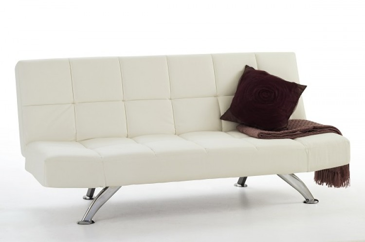Serene Venice Orchard White Faux Leather Sofa Bed By Serene Furnishings