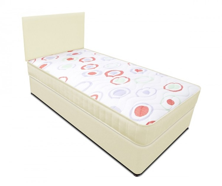 Joseph Planet Cream 2ft 6 Small Single Open Coil Bonnell Spring Divan Bed With Free Headboard