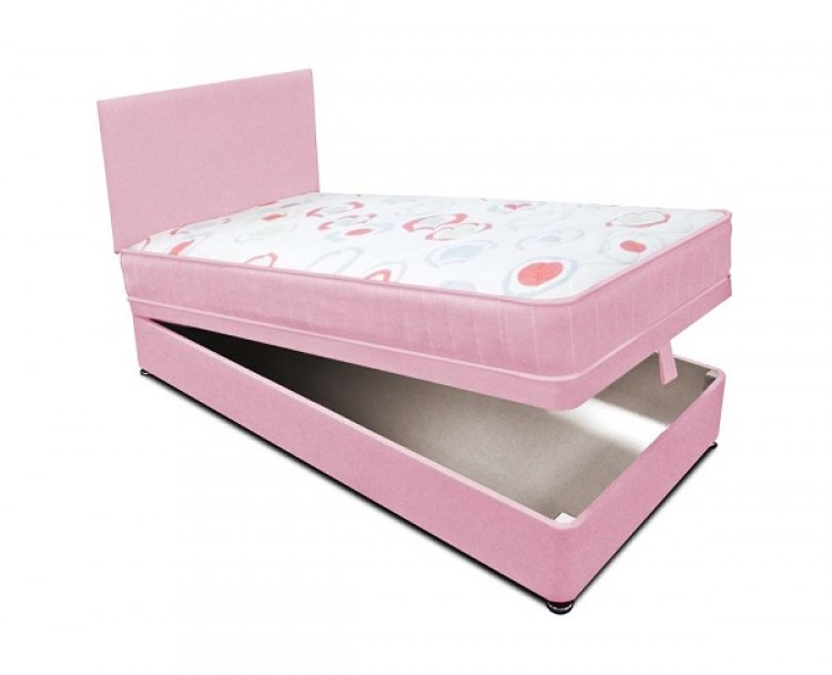 Joseph Planet Pink 3ft Single Open Coil Bonnell Spring Ottoman Lift Divan Bed With Free Headboard