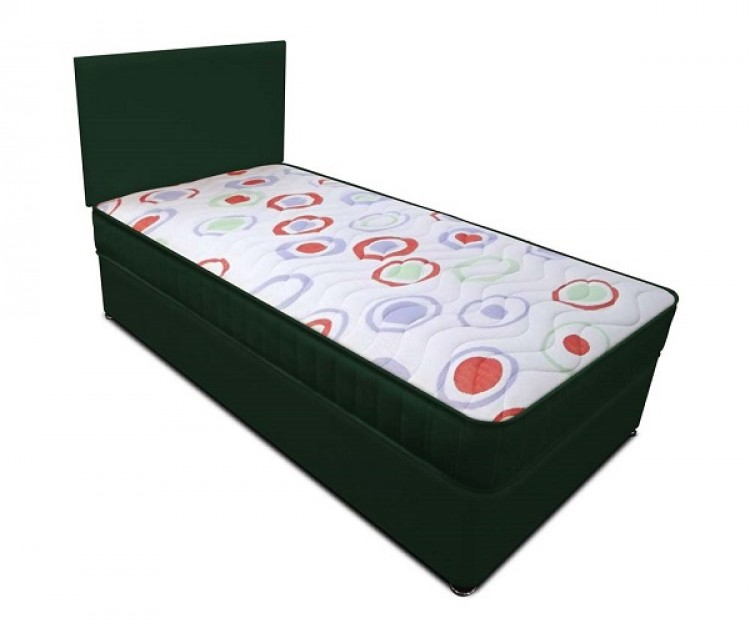Joseph Planet Green 2ft 6 Small Single Open Coil Bonnell Spring Divan Bed With Free Headboard