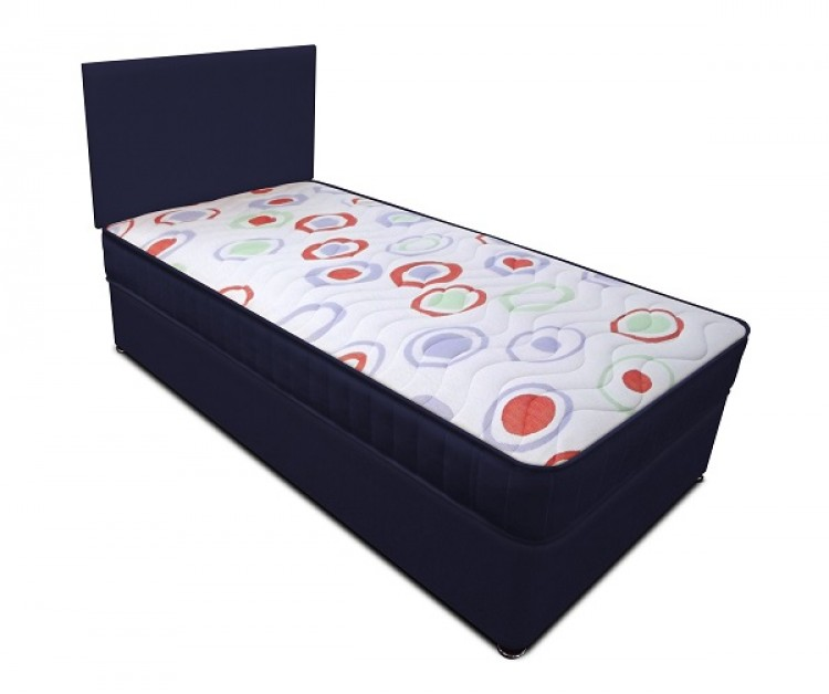 Joseph planet navy 3ft single open coil bonnell spring for Single divan bed with headboard
