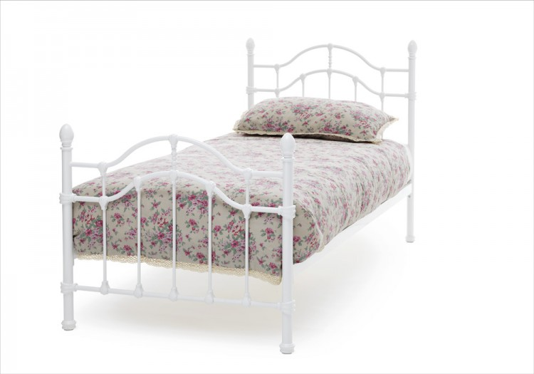 Serene Paris 3ft Single White Gloss Metal Bed Frame By