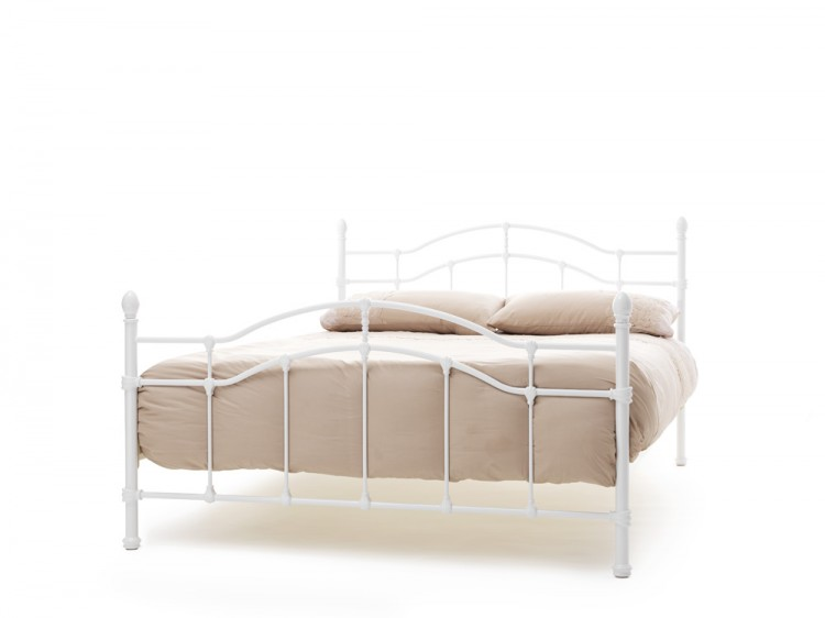 Serene Paris 4ft Small Double White Gloss Metal Bed Frame by Serene ...