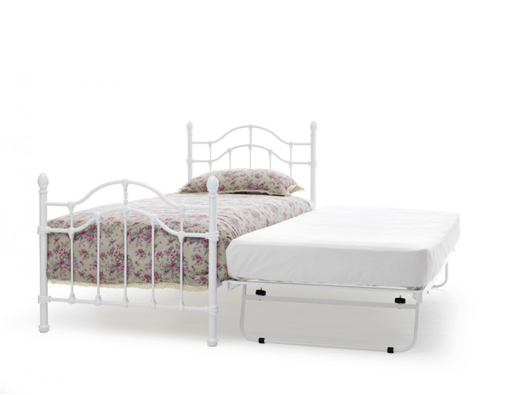 Serene Paris 3ft Single White Gloss Metal Guest Bed Frame