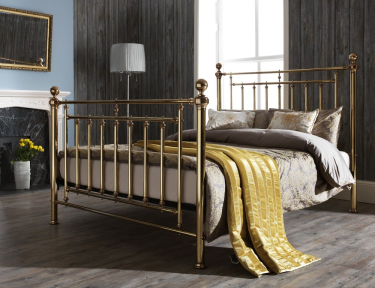 size brass metal bed frame serene - Kingsize Bed Frame