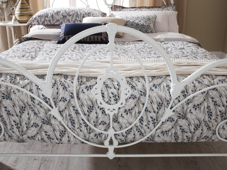 Serene Harriet 4ft6 Double White Metal Bed Frame By Serene Furnishings