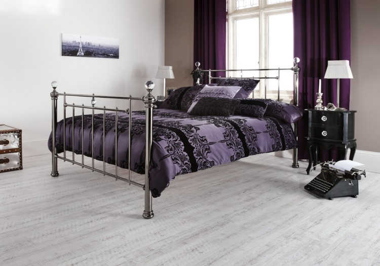 Serene Clara 4ft Small Double Black Nickel Metal Bed Frame with ...