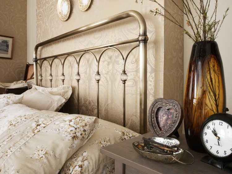 brass bed frame double. serene shilton 4ft6 double antique brass