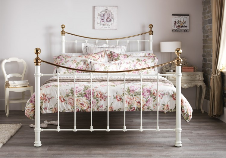 Serene Ethan Ivory Gloss With Brass 6ft Super King Size