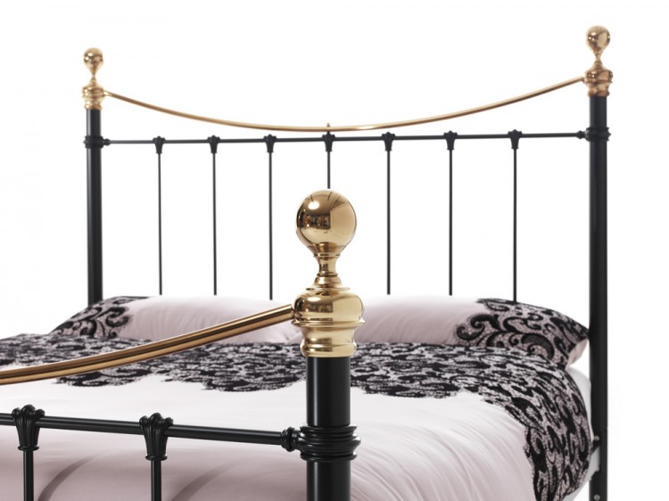 Serene Ethan Black with Brass 4ft6 Double Metal Bed Frame by Serene ...
