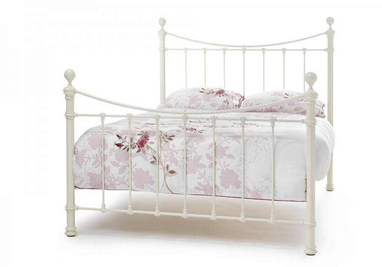 Serene Ethan Ivory Gloss 4ft Small Double Metal Bed Frame by