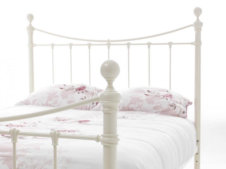 Serene Ethan Ivory Gloss 4ft Small Double Metal Bed Frame