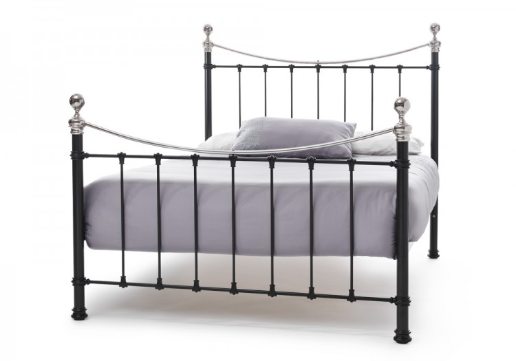Serene Ethan Black With Nickel 4ft Small Double Metal Bed Frame