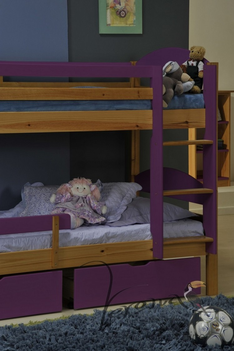 Verona Maximus Kids Pine Bunk Bed With Lilac Detail 3ft